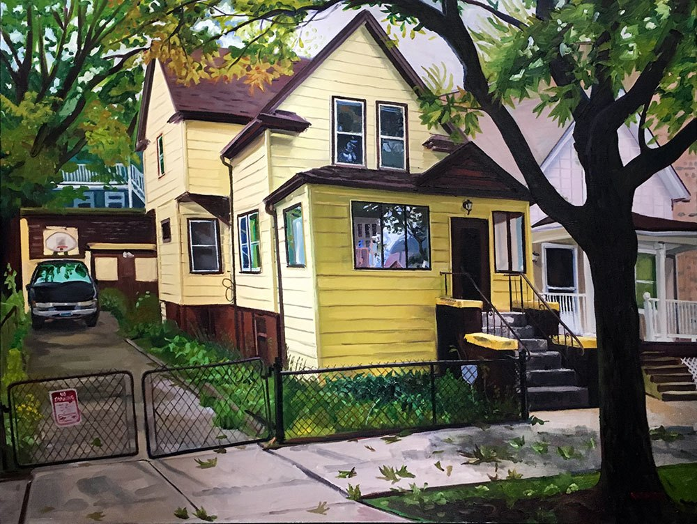 Yellow House with Brown Trim