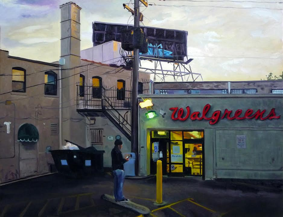 "Walgreens at Sunset, 24x30"", oil/canvas"