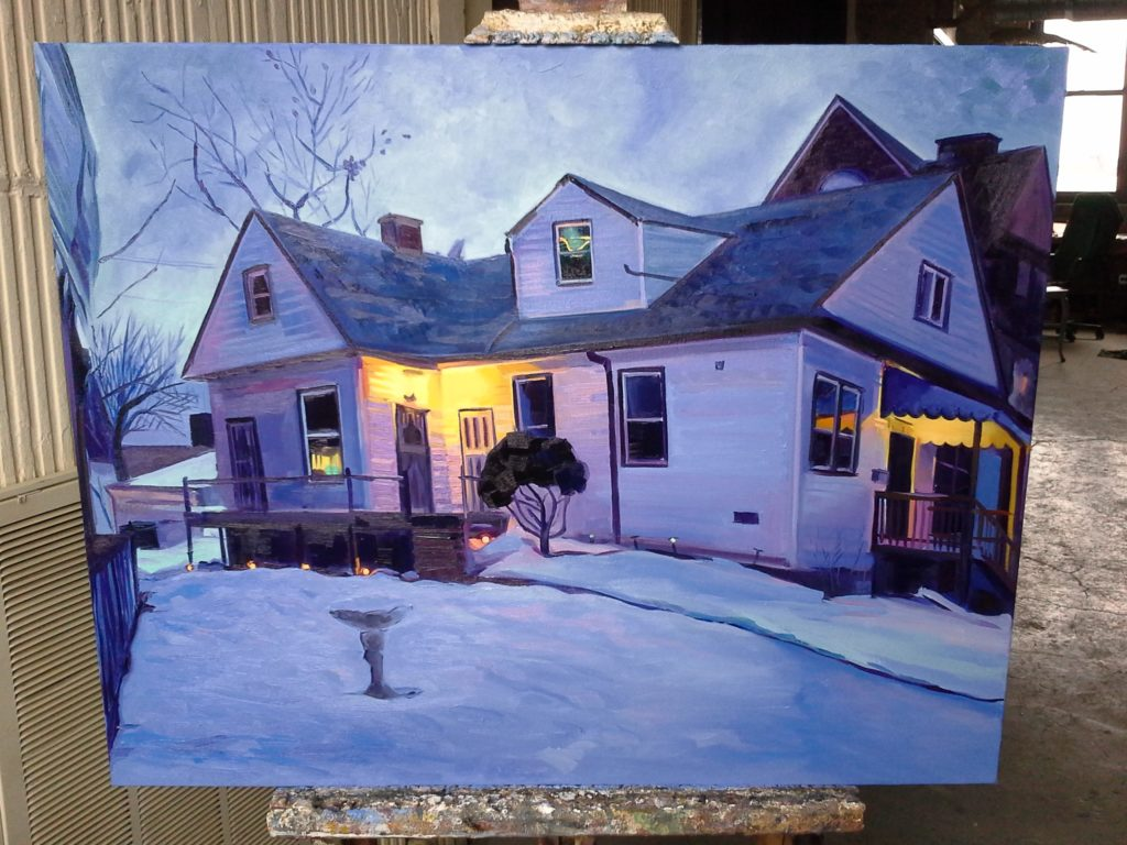 """Blue House, Oil on Canvas, approx. 22x28"""". © 2014"""